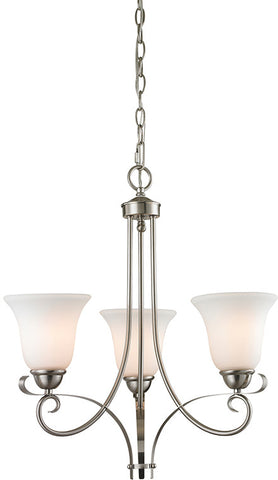 Cornerstone 1003CH/20 Brighton 3 Light Chandelier In Brushed Nickel - Peazz.com