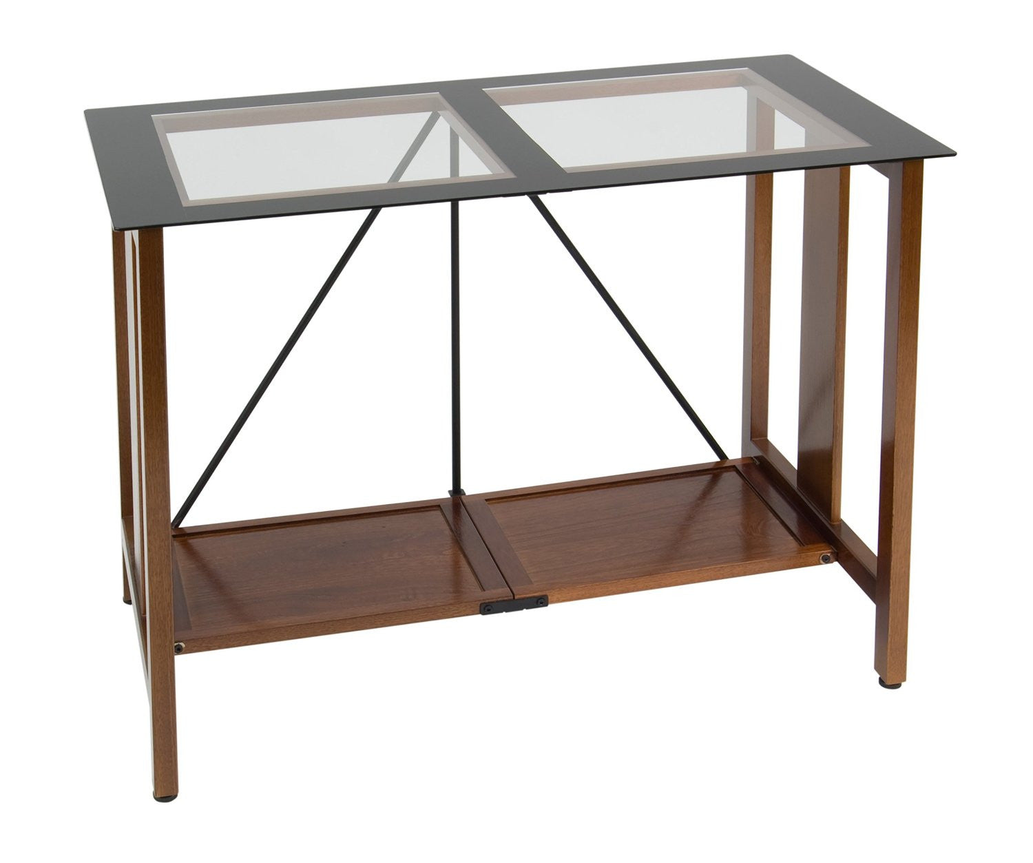Studio Designs 50251 Madera Folding Desk (Glass Top) Walnut / Black/ Clear Glass