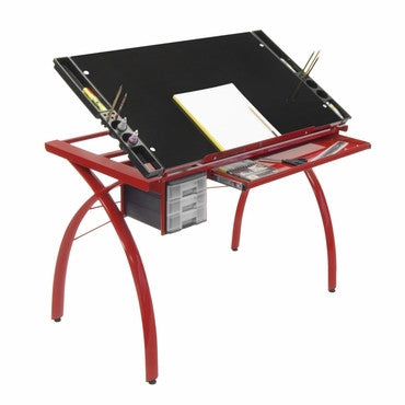 Studio Designs 10076 Futura Craft Station / Red / Black Glass