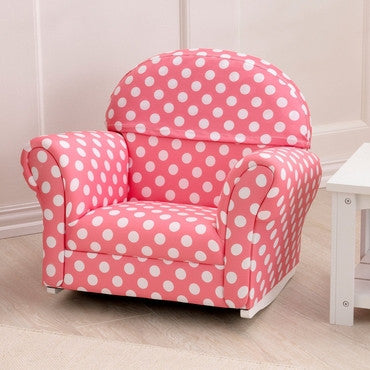 KidKraft 18686 Upholstered Rocker with Slip Cover - Pink with White Polka Dots - Peazz.com