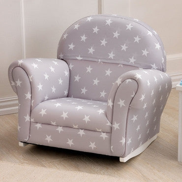 KidKraft 18688 Upholstered Rocker with Slip Cover - Gray with White Polka Dots - Peazz.com