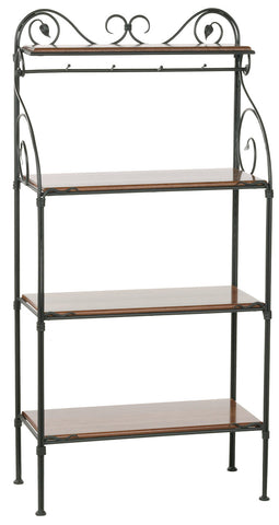 Stone County Ironworks 903-185-OXB Leaf Iron Bakers Rack 4 Tier - Peazz.com