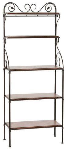 Stone County Ironworks 903-186-OXB Leaf Iron Bakers Rack 5 Tier - Peazz.com