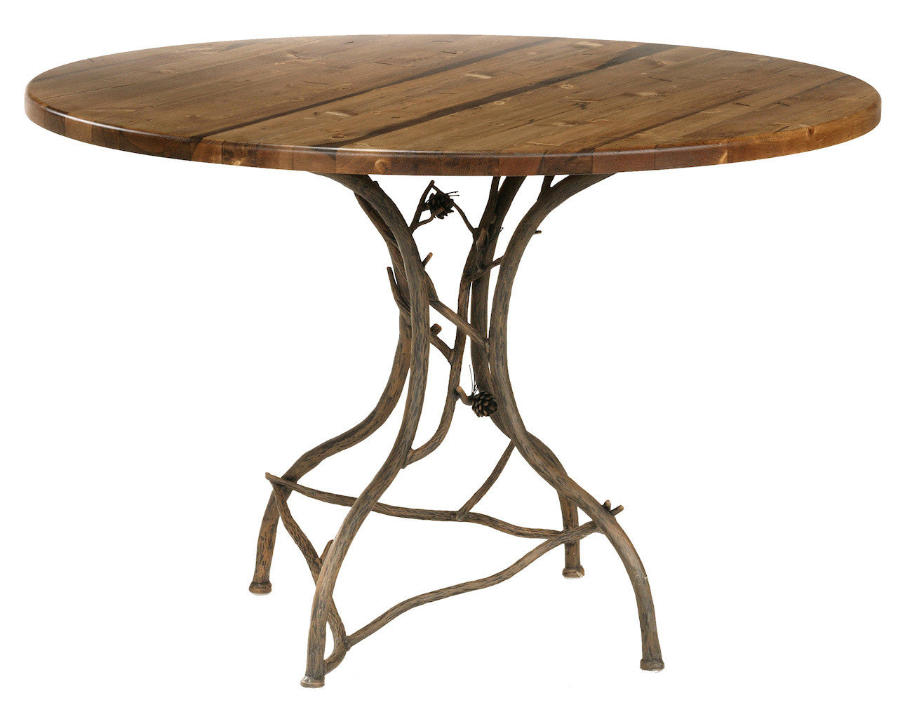 Breakfast Table Round Natural Bark Pine - Stone County Table Image