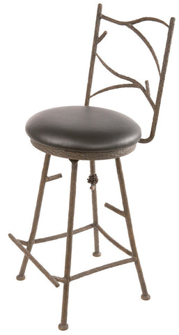 "Stone County Ironworks 904-123-LBK Pine Barstool 25"" (with swivel)( with natural bark) - BarstoolDirect.com"