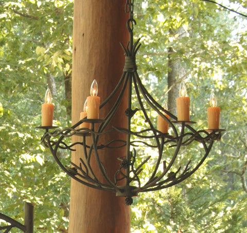 Stone County Ironworks 904-728 Pine Chandelier 6 Arm (natural bark) - Peazz.com