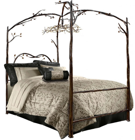 Stone County Ironworks 914-337 Enchanted Forest Canopy Bed (hand rubbed copper w/ copper accent) California King without chandelier - Peazz.com