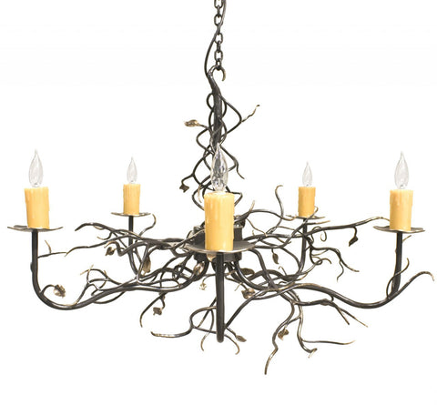 Stone County Ironworks 916-031 Garden Gate 5 Arm Chandelier (gold accents) - Peazz.com