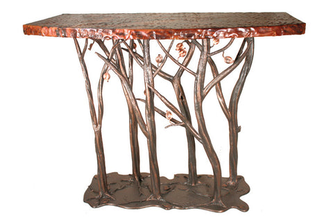 Stone County Ironworks 952-089-COP Enchanted Forest Console Table (hand rubbed copper w/ copper accent) - Peazz.com