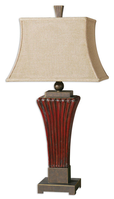 Uttermost 26465 Rosso Ribbed Ceramic Lamp