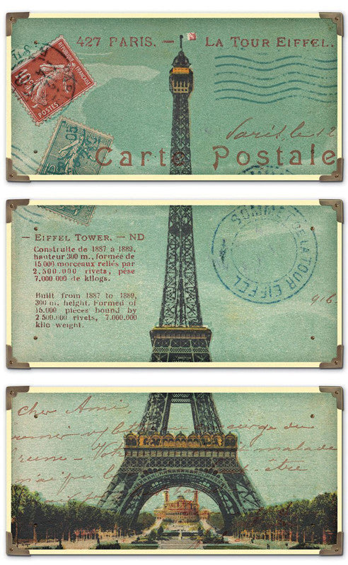 Uttermost 40917 Eiffel Tower Carte Postale S/3 Art
