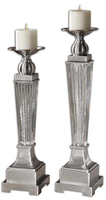 Uttermost 19769 Canino Mercury Glass Candleholders, S/2