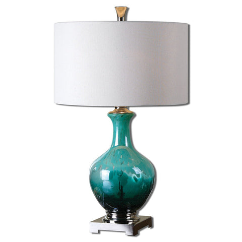 Uttermost 26770-1 Yvonne Green Blue Glass Table Lamp - UTMDirect