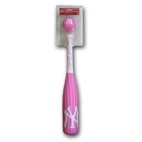 Grand Slam Softee Bat & Ball Set - Yankees Pink Pinstripe Edition - Peazz.com