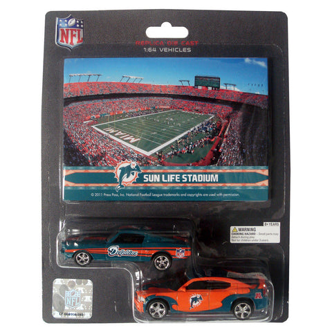 NFL Ford Mustang And Dodge Charger 1:64 Scale Diecast Cars - Miami Dolphins - Peazz.com