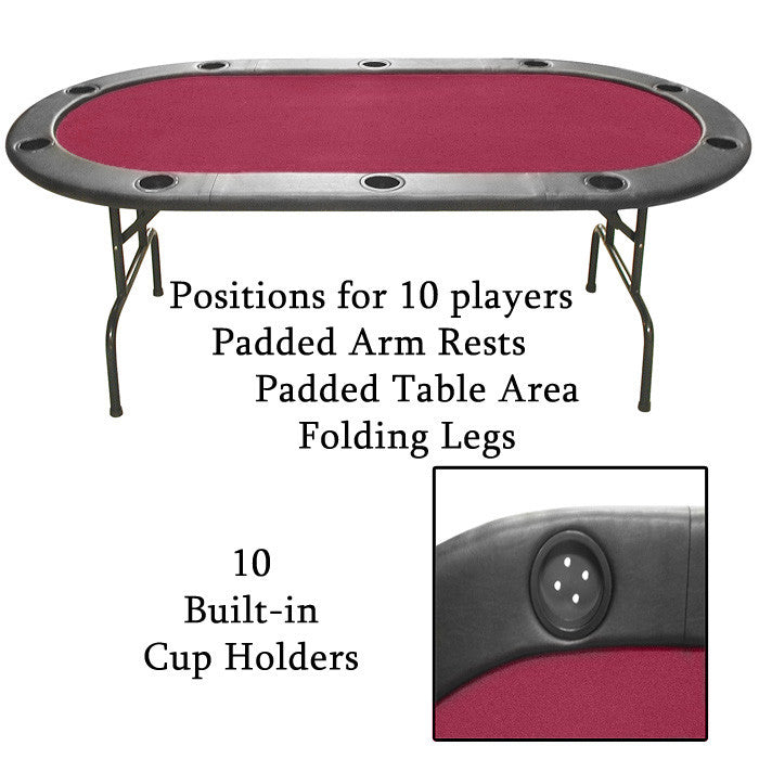 10-xx-ht1rd Imperfect Texas Holdem Burgundy Felt Poker Table 83 X 44