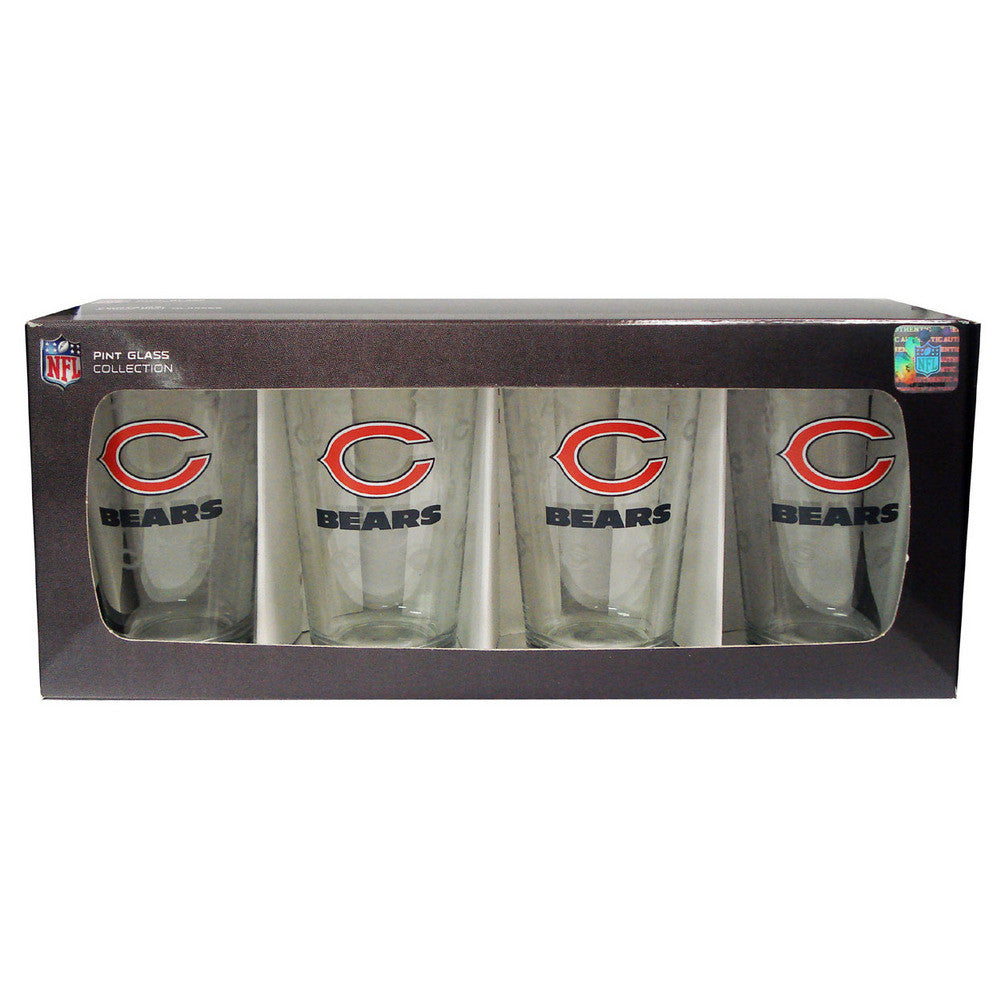 4 Pack Pint Glass NFL - Chicago Bears