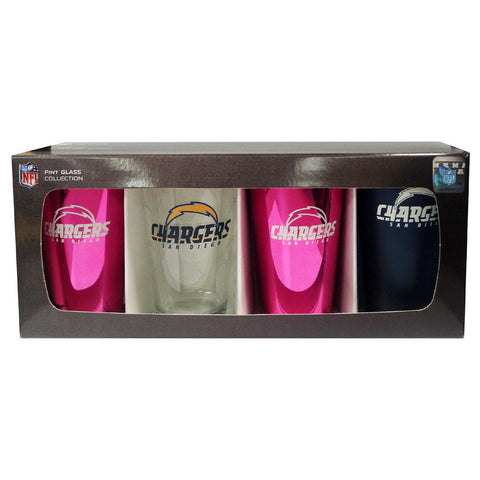 4 Pack Pint Glass NFL - San Diego Chargers - Peazz.com