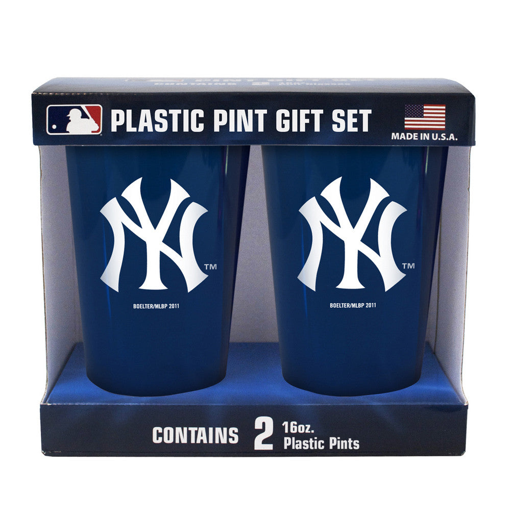 Boelter Brand Plastic 16 Ounce Pint Cups (Pack of 2) - New York Yankees