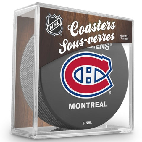 NHL 4 Pack Puck Coaster Set - Montreal Canadiens - Peazz.com