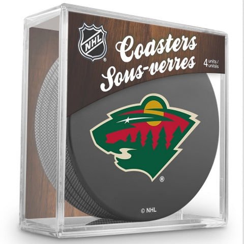NHL 4 Pack Puck Coaster Set - Minnesota Wild - Peazz.com