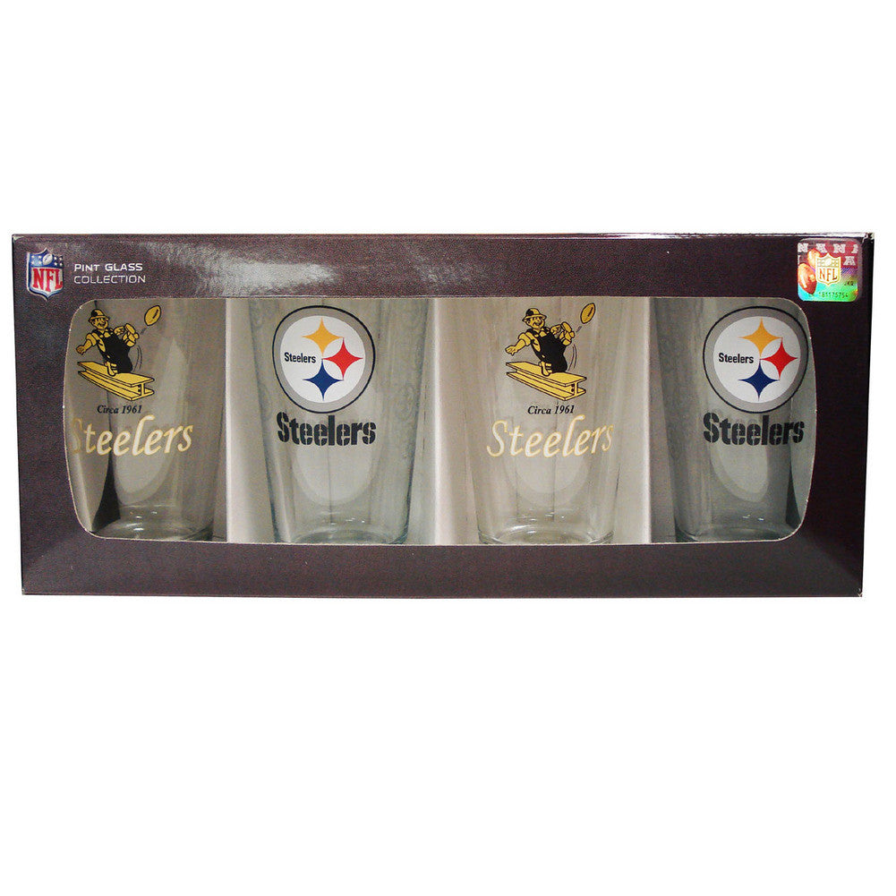 4 Pack Pint Glass NFL - Pittsburgh Steelers