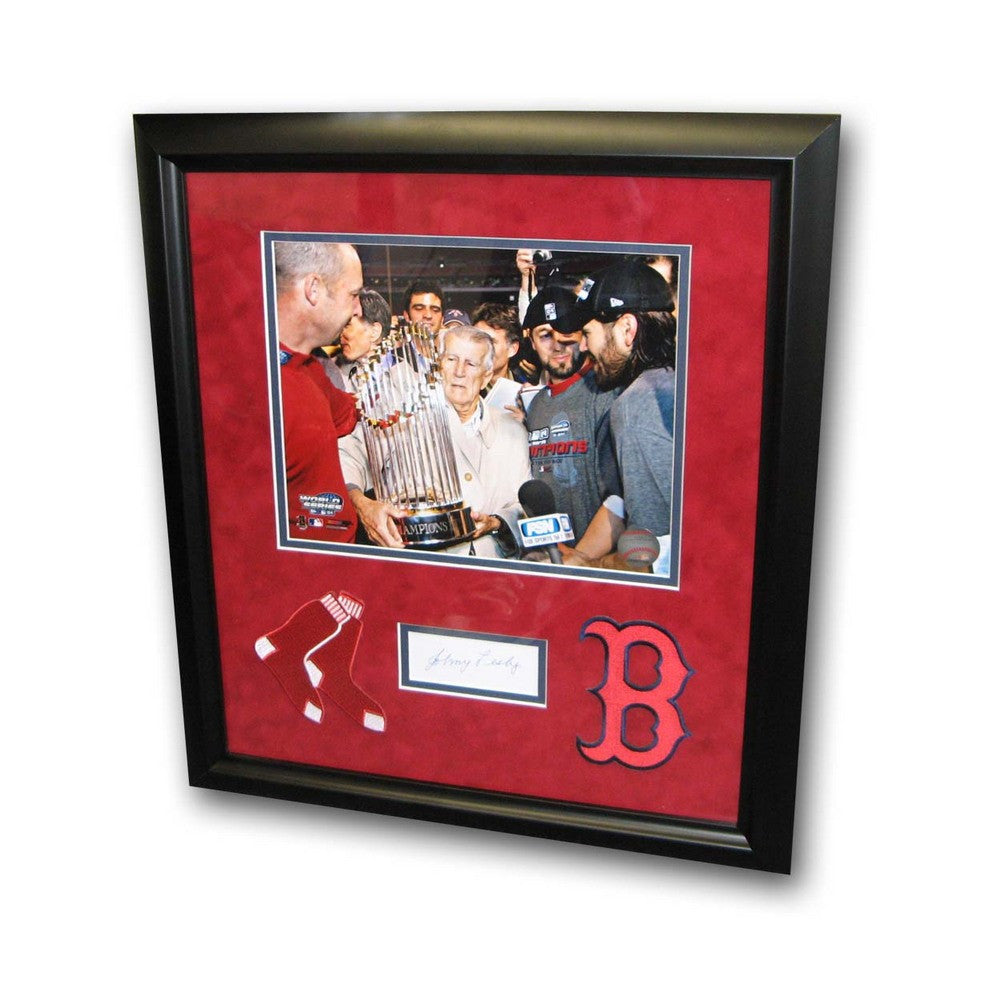 Autographed Johnny Pesky Index Card Framed With Black And White 8X10 Photo And 2 Red Sox Patches