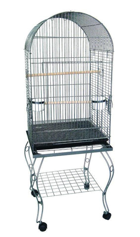 "YML Group 0204WHT 24"" Dometop Parrot Cage With Stand in White - Peazz Pet"