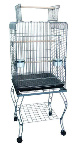 "YML Group 0224AS 24"" Open top Parrot Cage With Stand in Antique Silver - Peazz Pet"