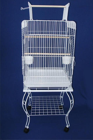"YML Group 0224WHT 24"" Open top Parrot Cage With Stand in White - Peazz Pet"