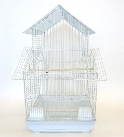 "YML Group 1644WHT 3/8"" Pagoda Top Cage 16x16"", White - Peazz Pet"
