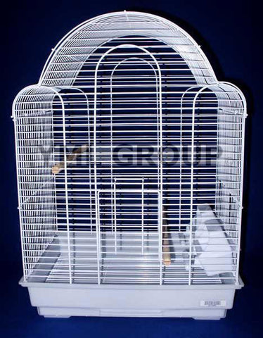 "YML Group 1704WHT 3/8"" Bar Spacing Shell Top Bird Cage, White - Peazz Pet"