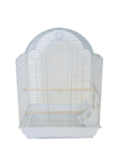 "YML Group 1784WHT 3/8"" Bar Spacing Barn Top Bird Cage, White - Peazz Pet"