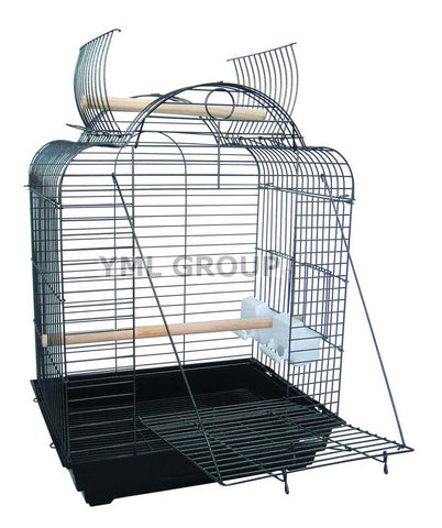 "YML Group 1904BLK 3/4"" Bar Spacing Open Dome Top Small Parrot Bird Cage - 20""x16"" In Black - Peazz Pet"