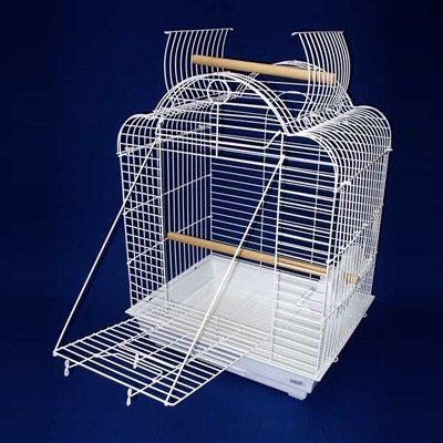 "YML Group 1904WHT 3/4"" Bar Spacing Open Dome Top Small Parrot Bird Cage - 20""x16"" In White - Peazz Pet"