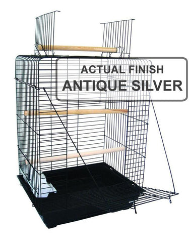 "YML Group 1924AS 3/4"" Bar Spacing Open Play Top Small Parrot Bird Cage - 20""x16"" In Antique Silver - Peazz Pet"