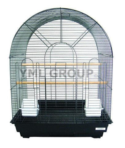 "YML Group 1934BLK 1/2"" Bar Spacing Round Top Small Bird Cage - 20""x16"" In Black - Peazz Pet"