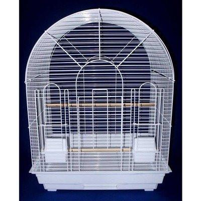 "YML Group 1934WHT 1/2"" Bar Spacing Round Top Small Bird Cage - 20""x16"" In White - Peazz Pet"