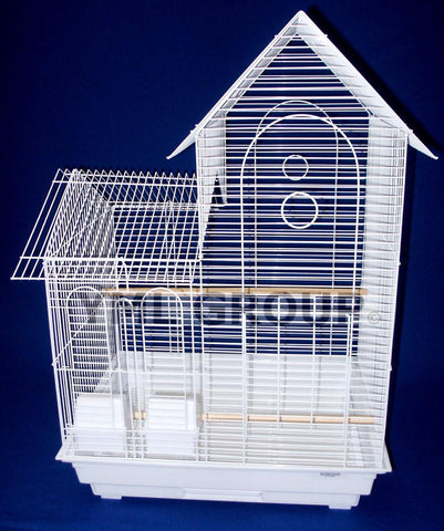 "YML Group 1944WHT 1/2"" Bar Spacing Villa Top Small Bird Cage - 20""x16"" In White - Peazz Pet"