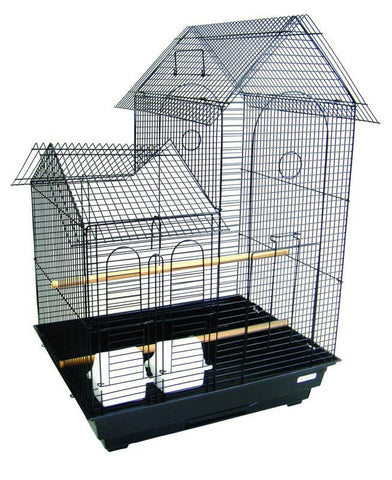 "YML Group 1954BLK 1/2"" Bar Spacing Shell Top Small Bird Cage - 20""x16"" In Black - Peazz Pet"