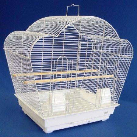 "YML Group 1954WHT 1/2"" Bar Spacing Shell Top Small Bird Cage - 20""x16"" In White - Peazz Pet"