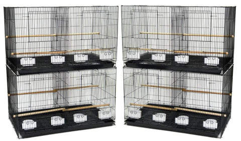 YML Group 4x2464AS Lot of 4 Medium Breeding Cages with Divider, Antique Silver - Peazz Pet