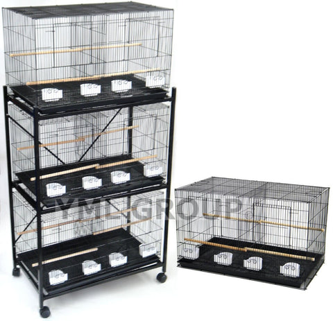 YML Group 4x2464AS and 1x4164BLK Lot of 4 Medium Breeding Cages with Divider in Antique Silver and One 3 Tie Black Stand - Peazz Pet