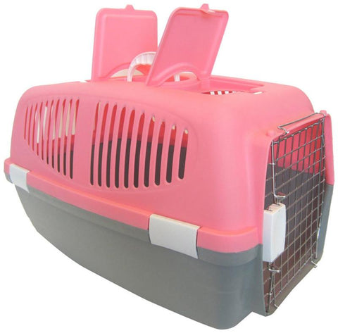YML Group Z100L-PK Large Plastic Carrier for Small Animal, Pink - Peazz Pet
