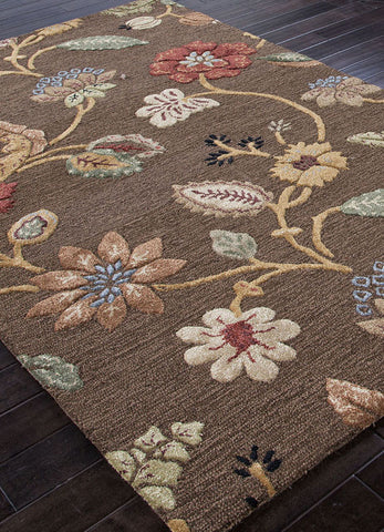 Jaipur Rugs RUG100471 Hand-Tufted Floral Pattern Wool/ Art Silk Brown/Yellow Area Rug ( 8x8 ) - Peazz.com