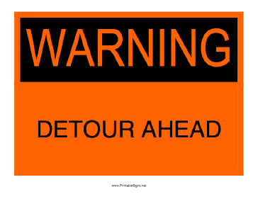 warning detour ahead sign