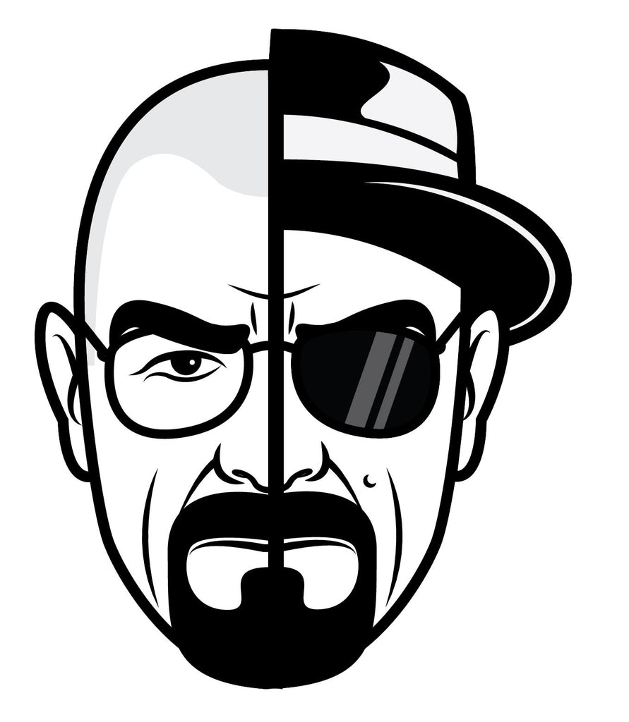 "Breaking Bad Heisenberg Stickers - 5"" Tall CMYK Die-Cut"
