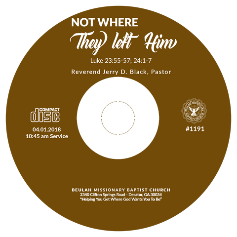 1191 Not Where They Left Him (CD)