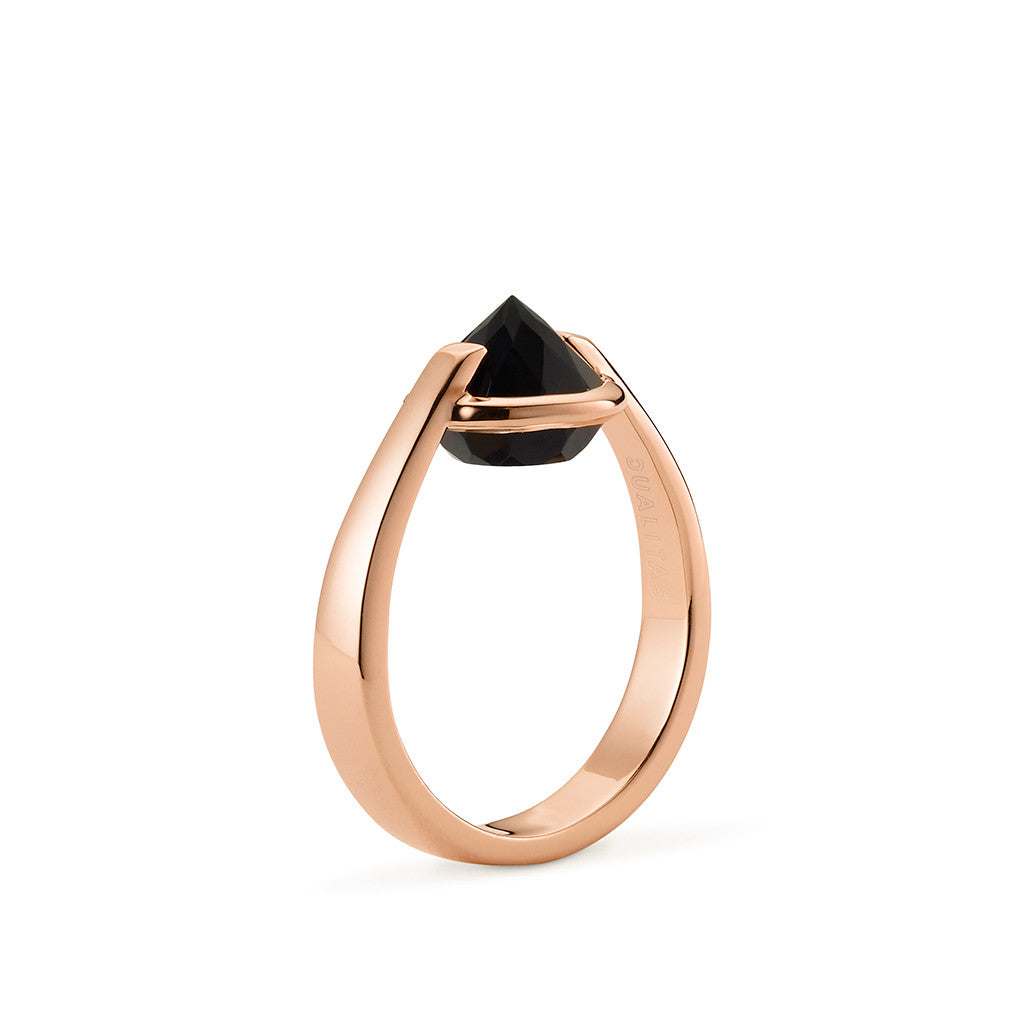 Vigor - 6 Ct Black Onyx Polished Rose Gold Ring