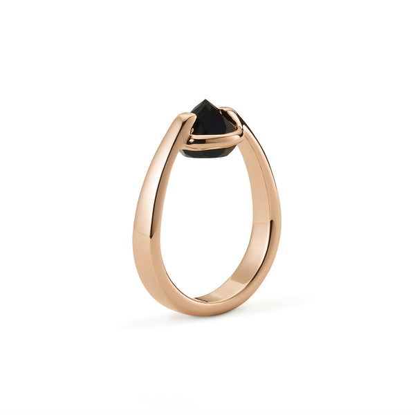 Vigor - 3 Ct Black Onyx Polished Rose Gold Ring
